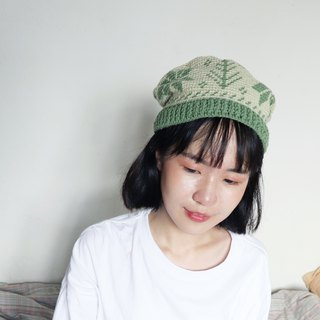 RedCheeks Wool Hat Cap | Yarn Hat | Snow Christmas Tree - Green Color หมวกไหมพรม