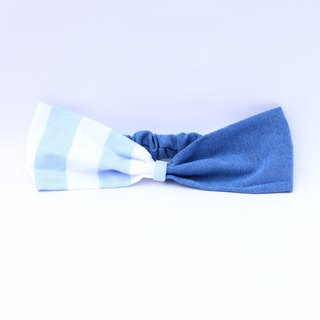 【The MAMA's Closet】Denim with Checked Headband (Light blue striped)