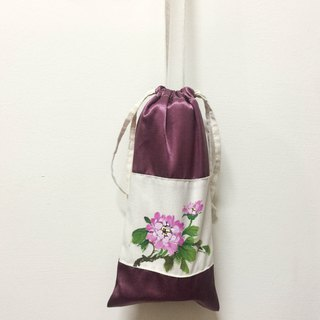 Kettle bag / beverage bag / side backpack / canteen bag / rich purple / hand-painted