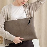 PVC Leather Clutch Bag (Taupe)