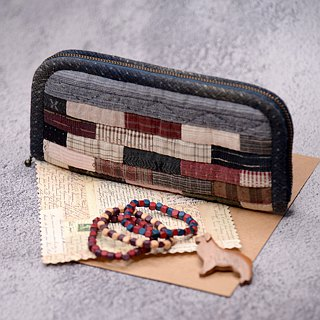 Pure hand-patchwork striped bag