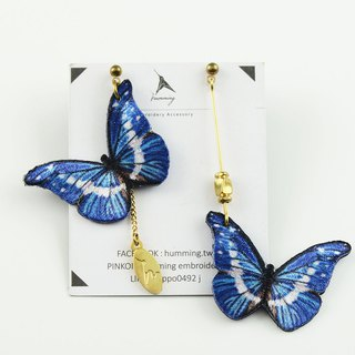 humming-Embroidery earrings / Morpho helena