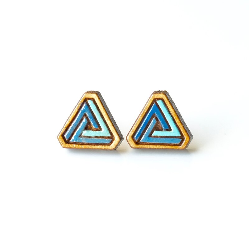 Painted  wood earrings-triangle (blue)