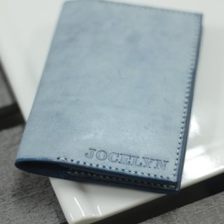 Make Your Choicesss simple blue Italian leather passport cover