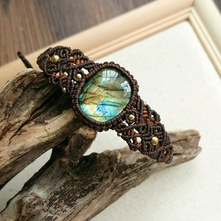 Misssheep H39 - macrame bracelet with Labradorite , brass beads