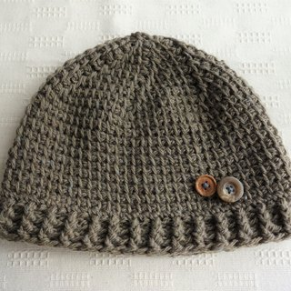 yuoworks / light knit cap with button(brown)