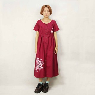 Tsubasa.Y Ancient House 015 Burgundy wine vintage dress, dress skirt dress
