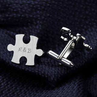 Puzzle Cufflinks sterling silver - Wedding cufflinks engraved - Groom Cufflink