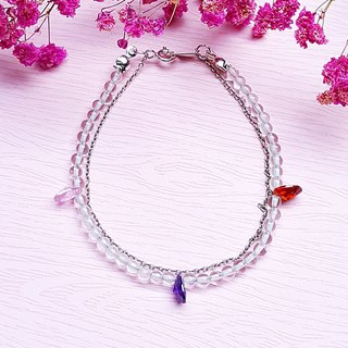 <April Birthstone - Zircon Zircon> Zircon White Crystal 925 Sterling Silver Double Bracelet Customization