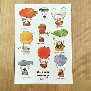 Balloon Journey collection of small animals hot air balloon postcards -1 pcs