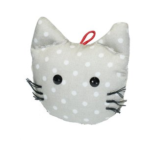 [AnnaNina] hand made cat ornaments, ancient cloth, gray and little