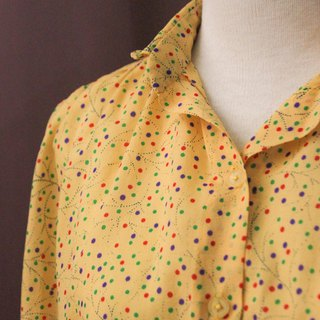 Vintage European Orange Dotted Long Sleeve Vintage Shirt Vintage Blouse