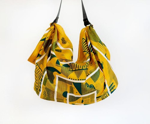 Maze furoshiki (mustard) Japanese eco wrapping textile/scarf, handmade in Japan