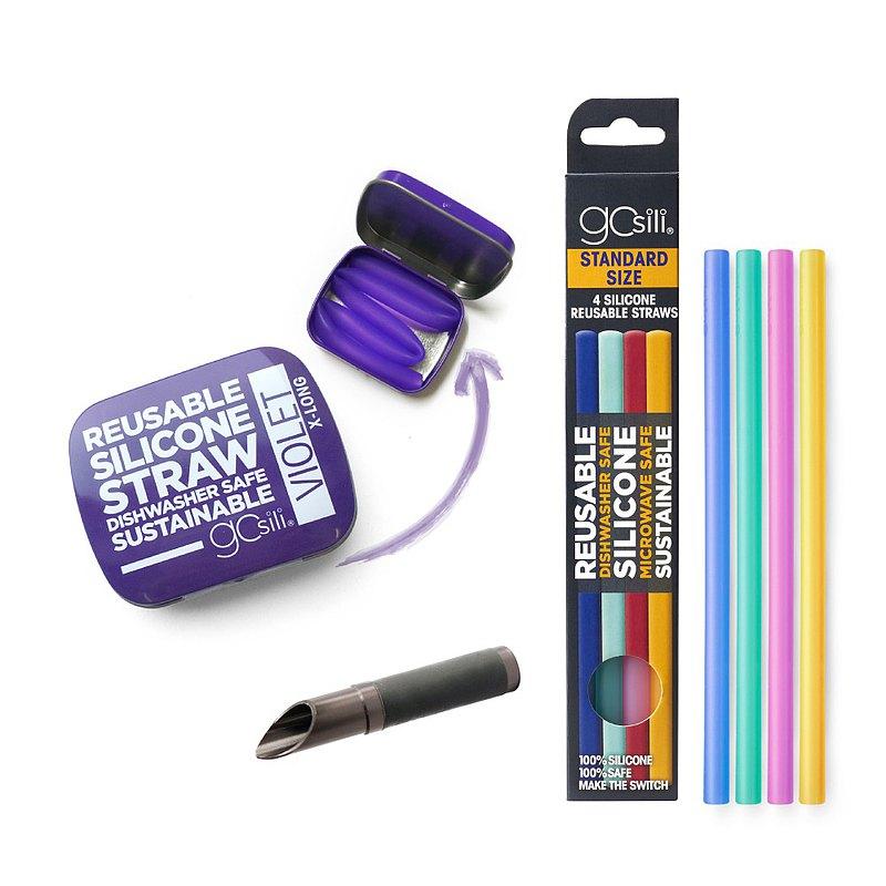 美國GoSili 鉑金矽膠(27cm) 口袋組(紫)+切口器(灰)+4入矽膠吸管