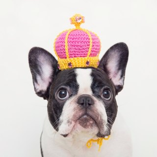 Fairy tale little queen pet dog cat hand-woven custom crown - bright peach