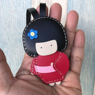 Leatherprince Handmade Leather Taiwan MIT Red Cute Japanese Doll Handmade Leather Charm Small Size small size