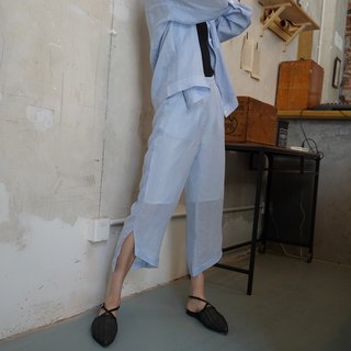 Original design linen side slit irregular hem cropped trousers in light blue
