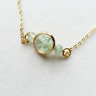 Twisted light green fluorite, aquamarine necklace clavicle gilded Bianzhu