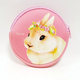 I money pink wallet hand painted wind - H6. Idyllic rabbit rabbit