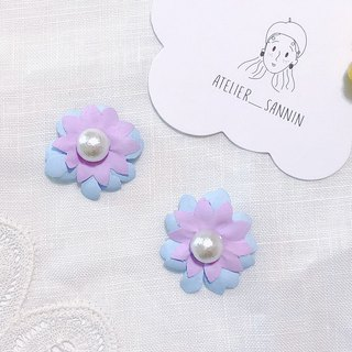 Memory Picture Book Series - Dream Hyacinth Flower Fabric Flower Quality Hand Sewing Ear Ear/ear Clip