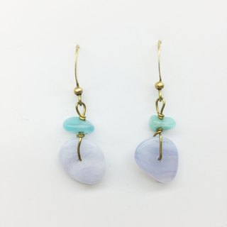 Old forest groceries l natural stone hand made earrings - Tianhe stone / blue agate ear hook l ear pin l ear clip