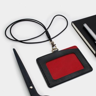 RENEW - Horizontal ID card holder, card holder black + red vegetable tanned leather hand-sewn