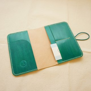 Hand dyed leather passport set notebook set - blue green