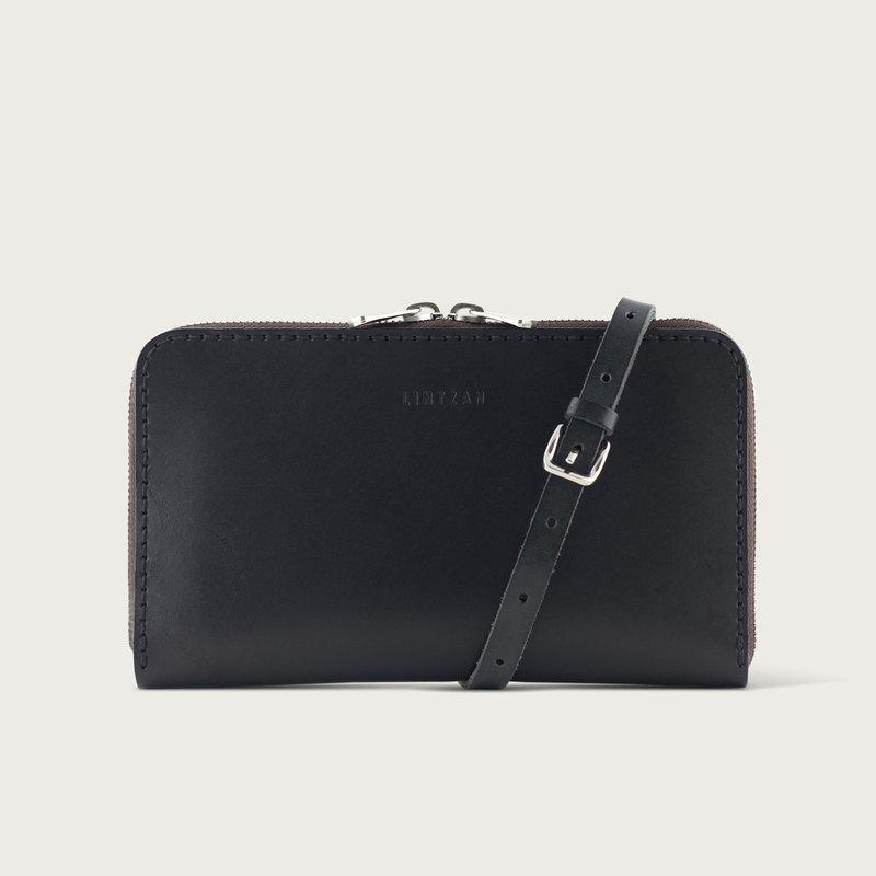 可拆式肩背拉鍊長夾 / 錢包 / 皮夾 -- 石黑色