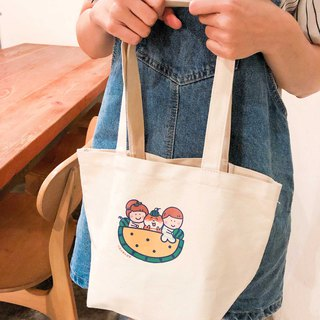 Xiaoyu watermelon 喵 の daily shoulder bag (green bag) hand-printed Canvas bag