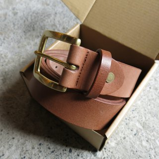 3.5cm wide medium version classic head belt _ light coffee plant yak leather. Handmade [LBT Pro]