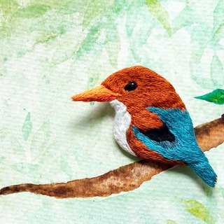 Kingfisher series white chest emerald wild bird embroidery brooch pin