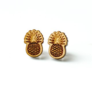 Plain wood earrings-Pineapple