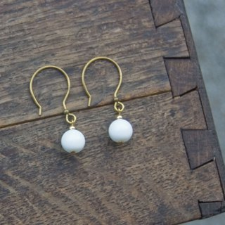 BZ 62: brass hook earrings with white glass