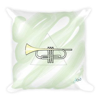 Square Pillow w/ Stuffing - Trumpet
