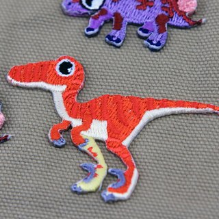 Crimson Runner self-adhesive embroidered cloth stickers - Dinosaur Resurrection Series