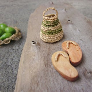 Miniature slippers with mini basket, home decor, native art, dollhouse miniature, fairy house, reclaimed wood