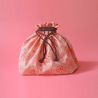 Traveling Purse-String Bag-L / Firework / Pink Peach, Orange, Green