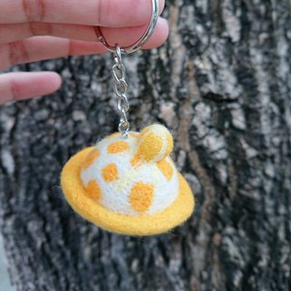 Handmade wool felt key ring / mango ice planet