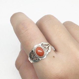 Coral stone 925 sterling silver carved design ring Nepal handmade mosaic production (style 1)