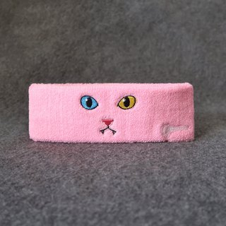 Cat Series - Embroidery Cat Headband - Pink Cat