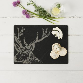 British Selbrae House natural black slate long cutting board / tray 35 cm (reindeer) - spot