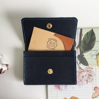 Graduation gift deep blue card holder / business card holder _ leather hand sewing business Card holder