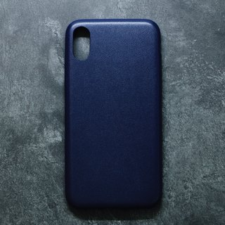 Solid Color Minimalist Leather iPhone Case - Ink Blue