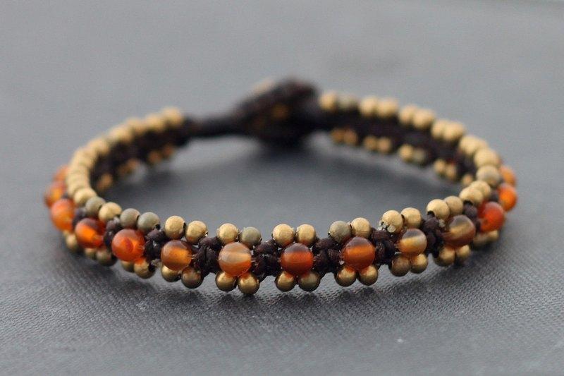 紅瑪瑙串珠袖口手鐲編織串珠種族黃銅