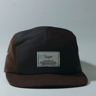 brown and black patchwork 5panel cap