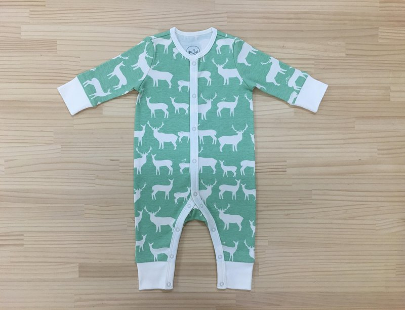 gujui love elk (Green Lake) - Organic cotton long-sleeved one-piece dress 6 ~ 12M