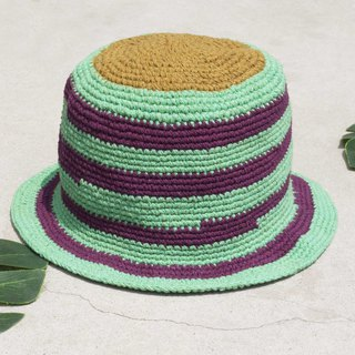The Chinese Valentine's Day gift is limited to a piece of land forest stitching hand-woven cotton hat / fisherman hat / sun visor / patch cap / handmade hat / hand crocheted cap / hand-woven - original summer green tea green milk striped cotton hat