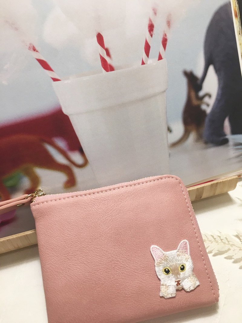 白貓L型拉錬零錢包 短夾  畢業 母親節禮物5/10前下單送手提拉繩