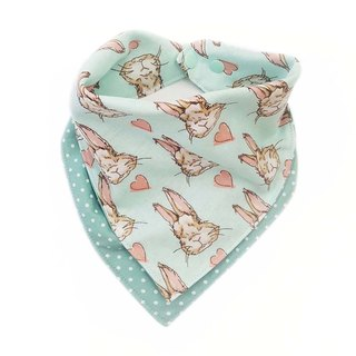 DOMOMO Alice Rabbit (Mint Green) - Double Yarn Double-sided Bib - Saliva towel scarf