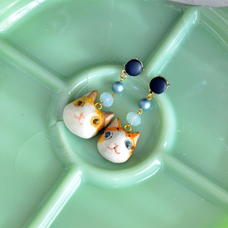 Japanese designer handmade cat earrings clay material